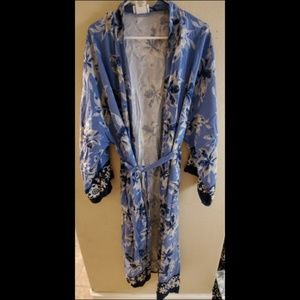 Soft Surroundings Blue Floral Open Front Cardigan